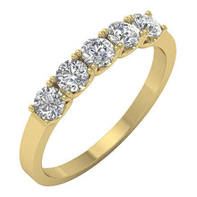 Load image into Gallery viewer, Designer Five Stone Anniversary Ring Natural Diamond 14k Yellow Gold VS1 E 1.00 ct