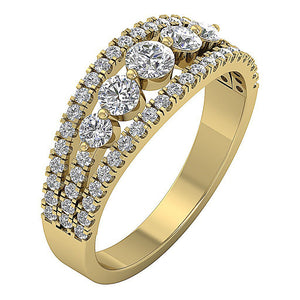 Split Shank 14k Rose Gold Designer Five Stone Anniversary Ring Natural Diamond I1 G 1.35 ct