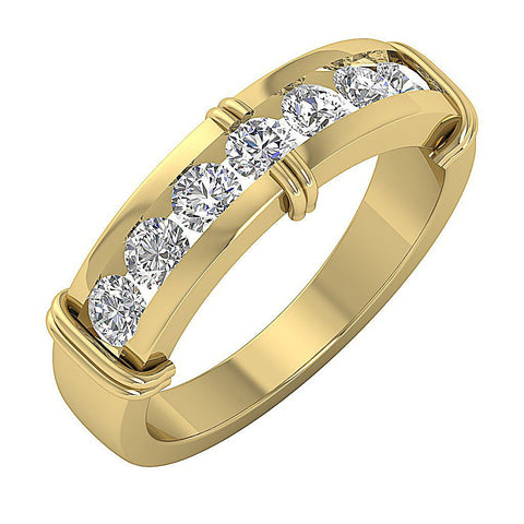Mens Engagement Ring SI1/I1 G 1.10 Ct 14k Solid Gold Natural Diamond Channel Set Width 6.35MM