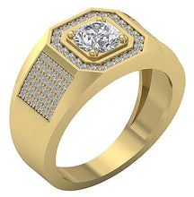 Load image into Gallery viewer, I1 G 1.65Ct 14k Solid Gold Mens Anniversary Ring Round Diamond Prong Set Width 12.00MM