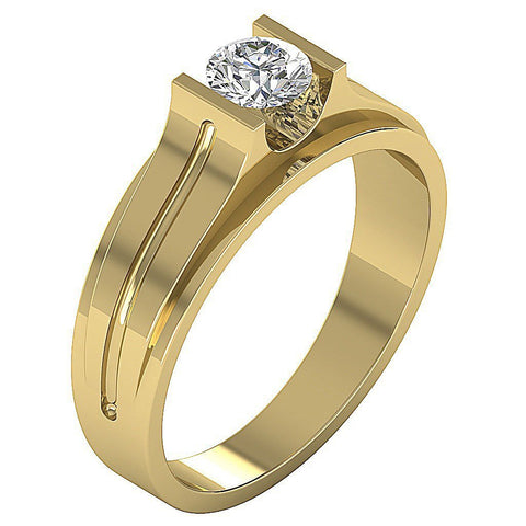 Mens Solitaire Engagement Ring SI1/I1 G 0.50Ct 14k Solid Gold Round Diamonds Bar Set Width 6.70MM