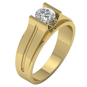 Mens Solitaire Engagement Ring SI1/I1 G 0.80Ct 14k Solid Gold Round Diamonds Bar Set Width 7.50MM
