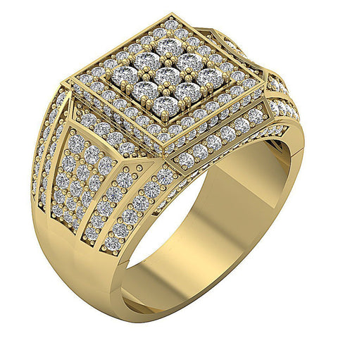 14k Solid Gold SI1/I1 G 2.55Ct Mens Wedding Ring Natural Diamond Prong Set Width 15.30MM
