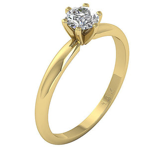 14K Yellow Gold Solitaire Natural Diamond Designer Wedding Ring SI1 G 0.50 Ct Six Prong Set 5.10MM