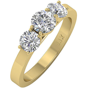 Genuine Diamond 14k Solid Gold Prong Set Ring-DTR101-TR-105-3