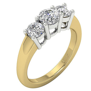 14k Gold Genuine Diamond Ring Side View-DTR17-TR-107-2
