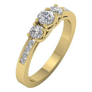 Side View 14k Solid Gold Genuine Diamond Ring-DTR30-TR-101-3