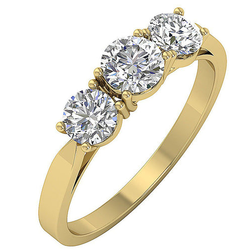 Genuine Diamond Yellow Gold Ring Side View-DTR51-TR-135-1