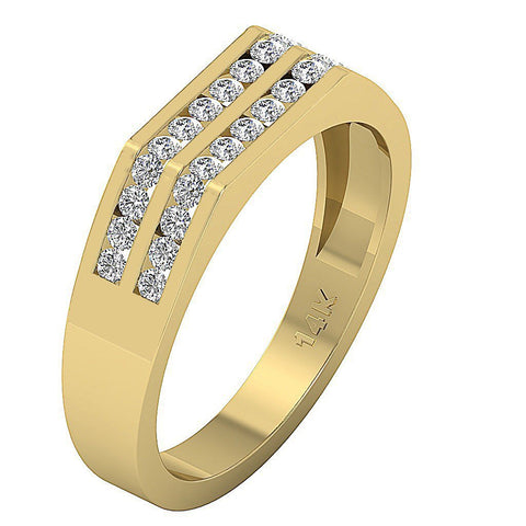 SI1/I1 G 0.60Ct Mens Wedding Ring 14k Solid Gold Natural Diamonds Channel Set Width 5.00MM