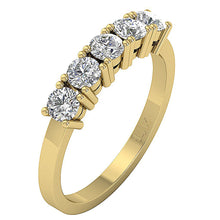 Load image into Gallery viewer, Designer Five Stone Wedding Ring I1 G 1.00 ct Natural Diamond 14k Rose Gold