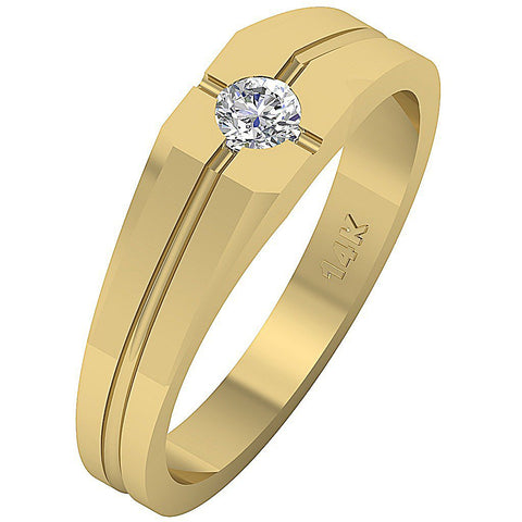 14k Solid Gold SI1/I1 G 0.25Ct Mens Solitaire Anniversary Ring Round Diamond Bezel Set Width 5.85MM