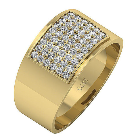 14k Solid Gold Mens Anniversary Ring VVS1/VS1 E 1.00Ct Natural Diamonds Pave Set Width 12.85MM