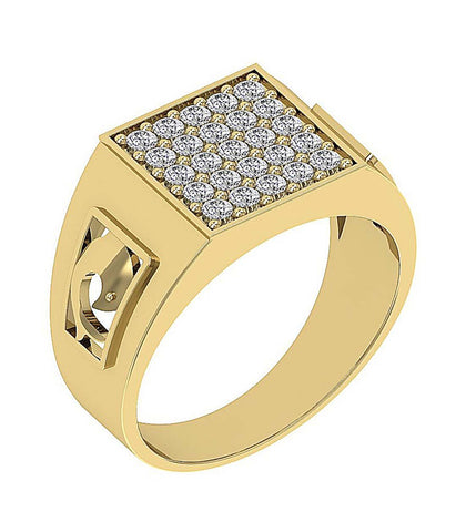 14k Solid Gold Mens Anniversary Ring SI1/I1 G 0.80Ct Round Diamond Prong Set Width 11.25MM