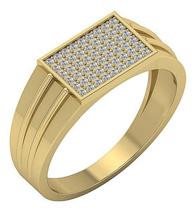 14k Solid Gold Mens Engagement Ring SI1/I1 G 0.40Ct Round Diamond Pave Set Width 8.60MM