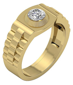Bezel Setting Yellow Gold Ring-MR-55