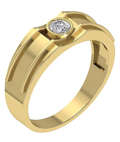 14k Solid Gold SI1/I1 G 0.30Ct Mens Solitaire Engagement Ring Round Diamond Bezel Set Width 7.75MM