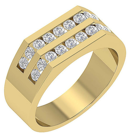 14k Solid Gold Natural Diamonds VVS1/VS1 E 1.00Ct Mens Wedding Ring Channel Set Width 7.85MM