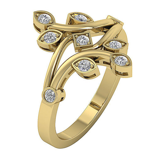 Genuine Diamond Designer Yellow Gold Ring-RHR-149-3