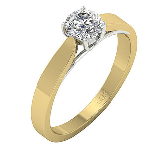 14k Gold Genuine Diamond Ring Side View-SR-10A-2
