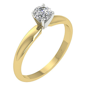 Genuine Diamond Ring Yellow Gold Side View-SR-180-1