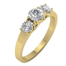 Load image into Gallery viewer, Side View Yellow Gold Natural Diamond 3 Stone Ring-TR-102A-3