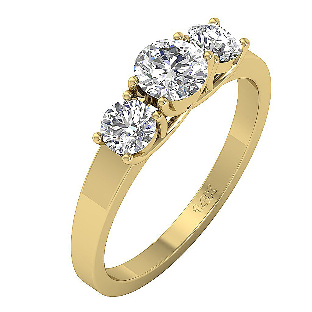 Side View Yellow Gold Natural Diamond 3 Stone Ring-TR-102A-3