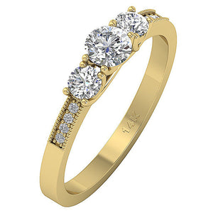 Round Cut Diamond Ring 14k Solid Gold Gift-TR-103-3