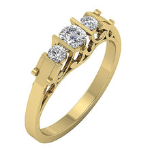 Load image into Gallery viewer, Designer Natural Round Diamond Three Stone Engagement Ring SI1 G 0.55 Ct Bar Set Width 4.50MM