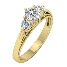 Load image into Gallery viewer, Past Present Future Designer Three Stone Ring Natural Diamond SI1 G 1.00 Ct 14K Rose Gold