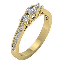 Load image into Gallery viewer, Three Stone Anniversary Ring Round Diamond I1 G 0.65 Ct Prong & Pave Set 14k White Gold 4.00MM