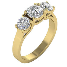 Load image into Gallery viewer, Three Stone Wedding Ring Round Diamond I1 G 2.00 Ct Prong Set 14k White Yellow Rose Gold 6.30MM