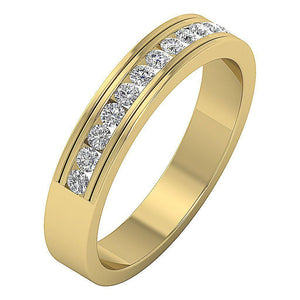 Channel Set Anniversary Band 0.50 ct I1 G Natural Round Ideal Cut Diamond 14k Gold