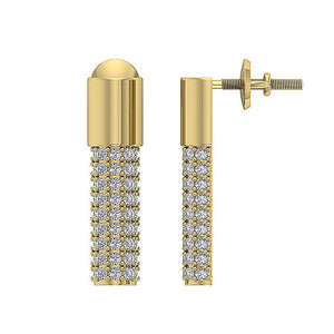 Designer Round Cut Diamond Earring 14k Yellow Gold-DE201
