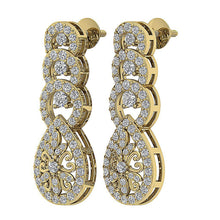 Load image into Gallery viewer, Dangle Chandelier Earrings 14k Solid Gold I1 G 1.60 Ct Round Cut Diamonds
