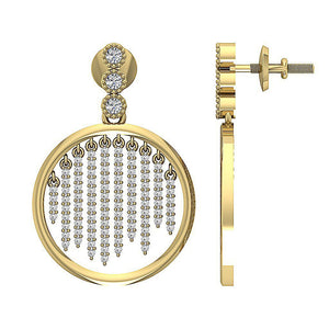 Side View 14k Yellow Gold Designer Round Earring-DE256