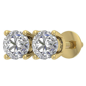 Side View Gold Genuine Diamond Earring-DST45-2.50-8