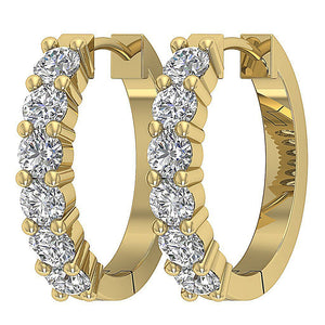 Large Hoops Earrings Natural Diamonds 14k White Yellow Rose Gold I1 G 0.90 Ct