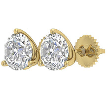 Load image into Gallery viewer, Round Cut Diamond 14k Gold Earring Side View-E-435-2.10-10