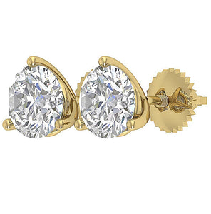 Round Cut Diamond 14k Gold Earring Side View-E-435-2.10-10