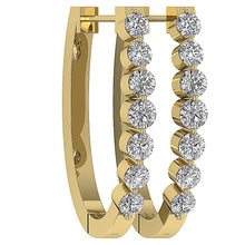 Load image into Gallery viewer, Large Hoops Earrings 14k Solid Gold SI1 G 1.10 Ct Natural Diamonds Bar And Channel Set