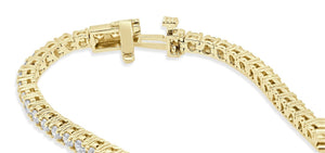 Tennis Bracelet Yellow Gold Round Cut Diamond-B-28-7