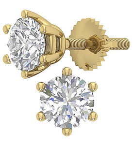 6 Prong Set Round Brilliant Diamond Solitaire Stud Earring I1 G 2.10 Ct 14k Gold