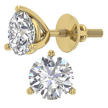 Load image into Gallery viewer, Martini 3 Prong Set Solitaire Stud Earring 14k Gold I1 G 2.50 Ct Round Cut Diamond