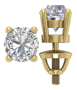 Yellow Gold 4 Prong Set Studs Earring -DST45-2.50-11