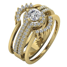 Load image into Gallery viewer, Halo Engagement Ring Round Brilliant Ideal Cut Prong Setting-CR-192