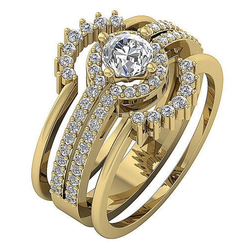 Halo Engagement Ring Round Brilliant Ideal Cut Prong Setting-CR-192