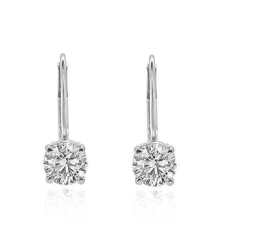 Lever Back Solitaire Stud Earring SI1 G 0.50 Ct 14k/18k Yellow Gold Round Diamonds