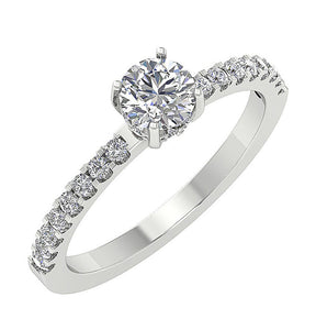 Accent Solitaire Wedding Round Natural Diamond Ring SI1 G 0.90 Ct 14k Solid Gold
