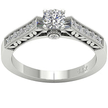 Load image into Gallery viewer, Accent With Solitaire Natural Round Cut Diamond Ring 14K-DSR199