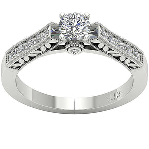 Accent With Solitaire Natural Round Cut Diamond Ring 14K-DSR199